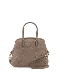 Valentino Leather And Lace Satchel Bag Tan
