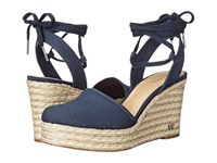 Michael Michael Kors Margie Closed Toe Wedge Navy Small Weave Canvas Women's Shoes Blue