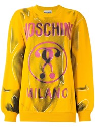 Moschino Trompe L'ail Sweatshirt Yellow And Orange