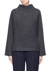 Vince Horizontal Rib Knit Funnel Neck Sweater Grey