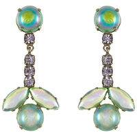 Eclectica Vintage 1950S Chrome Plated Glass Clip On Drop Earrings Green