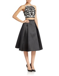 Xscape Evenings Two Piece Top And Skirt Set Black Ivory