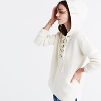 Madewell Lace Up Hoodie Sweater Antique Cream