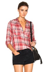 Paige Denim Mya Top In Red Checkered And Plaid