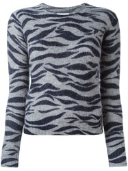 See By Chloe Zebra Print Jumper Grey