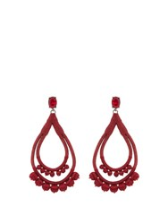 Oscar De La Renta Teardrop Pompom Embellished Earrings Red