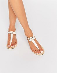 Oasis Bow Front Flat Sandals White