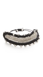 Sam Edelman Chain Mail Macrame Bracelet Black Rhodium