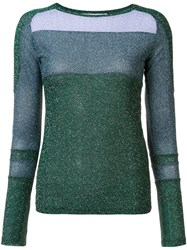 Carven Glitter Effect Crew Neck Jumper Green