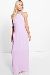Boohoo Jenna Embellished Halter Maxi Dress Lilac