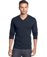 Alfani Big And Tall Solid V Neck Sweater Neo Navy
