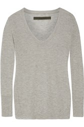 Enza Costa Heathered Cashmere Sweater Gray
