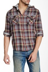 Lee Cooper Plaid Shirt Hoodie With Jersey Trim Gray