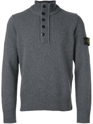 Stone Island Zipped Buttoned Pullover Grey
