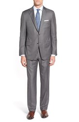Men's Big And Tall Hickey Freeman Classic Fit Solid Wool Suit Grey