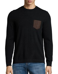Black Brown Cashmere Pocket Sweater Black