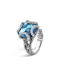 John Hardy Sterling Silver Classic Chain Medium Braided Ring With London Blue Topaz And Diamonds Silver Blue
