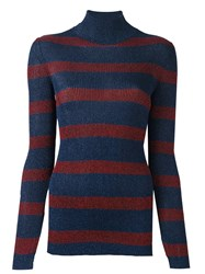 Cedric Charlier Striped Roll Neck Pullover Blue