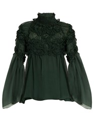 Chloe Floral Smocked Silk Crepon Blouse Dark Green