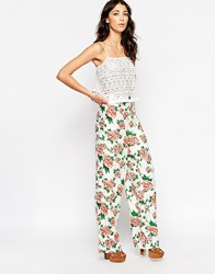 Motel Ari Palazo Pants In Floral Print Opium Cream
