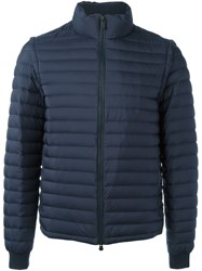 Z Zegna Funnel Neck Padded Jacket Blue