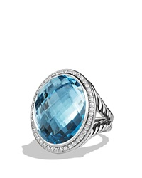 David Yurman Dy Signature Oval Ring With Blue Topaz And Diamonds Blue Silver