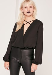 Missguided Cross Front Crop Blouse Black