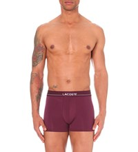 Lacoste Logo Print Jersey Trunks Bordeaux