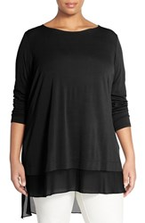 Plus Size Women's Eileen Fisher Sheer Hem Silk Jersey Bateau Neck Tunic Black