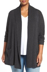 Sejour Plus Size Women's Open Front Wool And Cashmere Cardigan Grey Dark Charcoal Heather