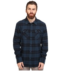Rvca Standoff Long Sleeve Flannel Midnight Men's Clothing Navy