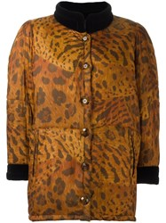 Yves Saint Laurent Vintage Animal Print Padded Coat Brown