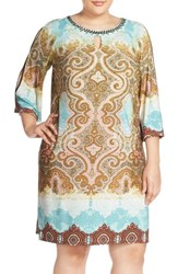 Plus Size Women's London Times Embellished Paisley Print Jersey Shift Dress