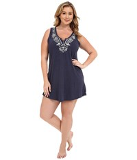 Lucky Brand Plus Size Embroidered Chemise Navy Women's Pajama