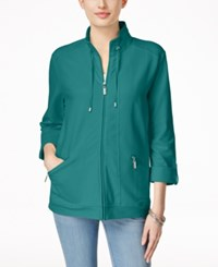 Karen Scott Lounge Zip Front Jacket Only At Macy's New Pool Green