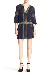 Alice Olivia Women's 'Jolene' Embroidered Drop Waist Peasant Dress Navy