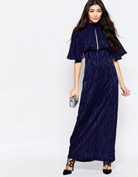 Liquorish Kimono Sleeve Maxi Dress In Burnout Print Navy Burnout Print