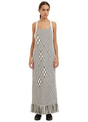 Voz Long Racerback Fringed Knit Dress Grey