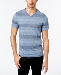 Alfani Men's Big And Tall Micah Stripe V Neck T Shirt Only At Macy's Neo Navy Combo