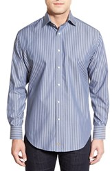 Men's Thomas Dean Trim Fit Long Sleeve Stripe Sport Shirt