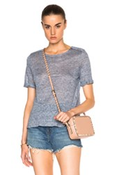 Frame Denim Boxy Epaulette Tee In Blue