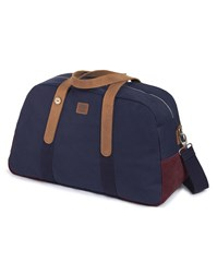 Faguo Navy And Burgundy Canvas Suede 48 Hr Bag Blue