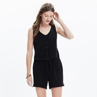 Madewell Button Front Jacquard Romper