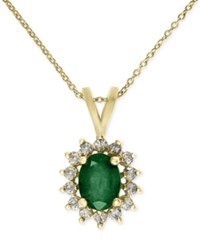 Effy Collection Brasilica By Effy Gold Tone Emerald 1 1 8 Ct. T.W. And Diamond 1 3 Ct. T.W. Pendant Necklace In 14K Gold Green