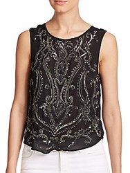 Haute Hippie Paisley Embellished Silk Tank Top Black