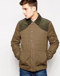Jack Wills Quilted Bomber In Green