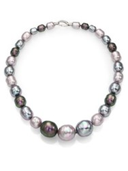 Majorica 10Mm 20Mm Multicolor Baroque Pearl And Sterling Silver Graduated Strand Necklace 18