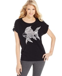 Style And Co. Petite Embellished Fish Print Tee