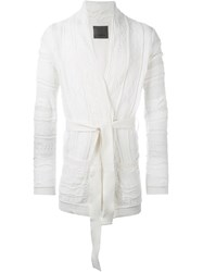 Laneus Cable Knit Robe Style Tie Up Cardigan White