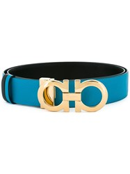 Salvatore Ferragamo Double Gancini Buckle Belt Blue